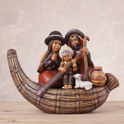 Ceramic nativity sculpture, Holy Family in a Canoe