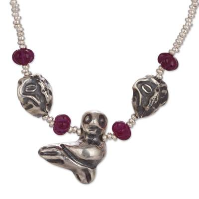 Quartz beaded pendant necklace, 'Machu Picchu Legacy' - Sterling Silver and Quartz Beaded Bird Pendant Necklace