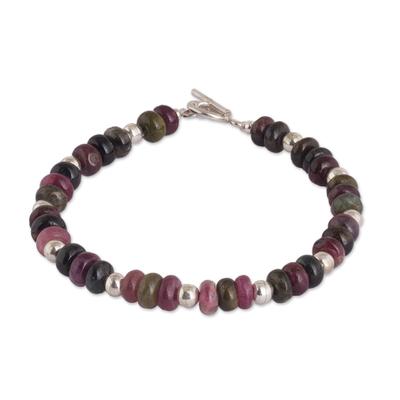 Quartz beaded bracelet, 'Andean Inspiration' - Quartz and Sterling Silver Beaded Bracelet from Peru