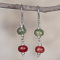 Quartz dangle earrings, 'Remembered Passion' - Artisan Handcrafted Silver Earrings with Andean Quartz