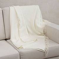 100% baby alpaca throw, 'Blissful Dream in Alabaster' - 100% Baby Alpaca Throw Blanket in Solid Alabaster from Peru