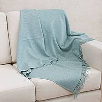 100% baby alpaca throw, 'Blissful Dream in Aqua' - 100% Baby Alpaca Throw Blanket in Solid Aqua from Peru