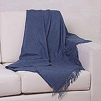 100% baby alpaca throw, 'Blissful Dream in Azure' - 100% Baby Alpaca Throw Blanket in Solid Azure from Peru