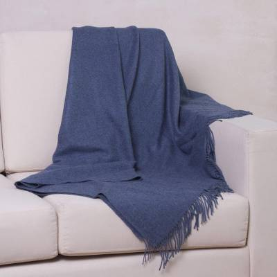 100% baby alpaca throw, 'Blissful Dream in Azure' - 100% Baby Alpaca Throw Blanket in Solid Azure from Peru
