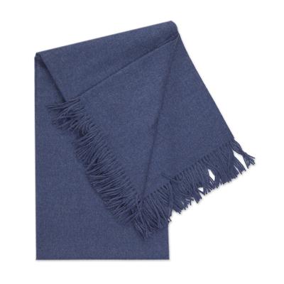 100% Baby Alpaca Throw Blanket in Solid Azure from Peru