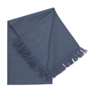 100% Baby Alpaca Throw Blanket in Steel Blue from Peru