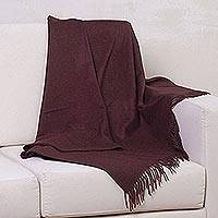 100% baby alpaca throw, 'Blissful Dream in Maroon' - 100% Baby Alpaca Throw Blanket in Solid Maroon from Peru