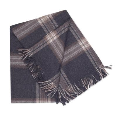 100 Bay Alpaca Throw Blanket With Striped Motifs From