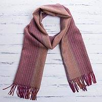 100% baby alpaca scarf, 'Inca Stripes' - 100% Baby Alpaca Striped Fringed Wrap Scarf from Peru