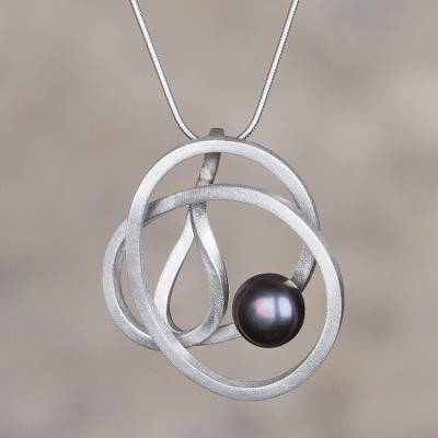 Cultured pearl pendant necklace, 'Dark Amazon Nest' - Modern Silver Necklace with a Dark Grey Cultured Pearl
