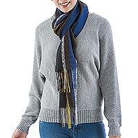 Alpaca blend scarf, 'Cozy Colors' - Handwoven Dark-Tone Alpaca Blend Wrap Scarf from Peru