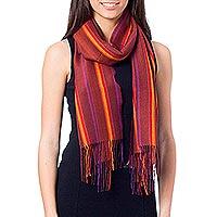 Alpaca blend scarf, 'Feminine Comfort' - Handwoven Dark Alpaca Blend Wrap Scarf from Peru