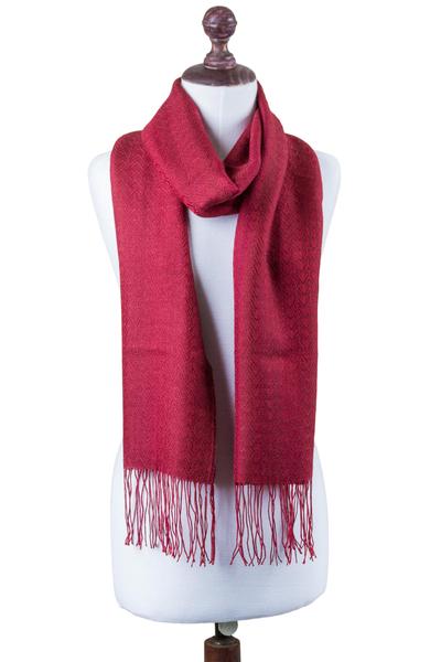 Alpaca blend scarf, 'Intense Love in Crimson' - Handwoven Alpaca Blend Wrap Scarf in Crimson from Peru