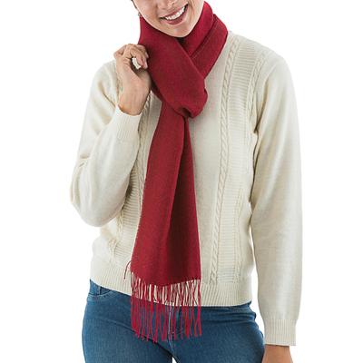 Alpaca blend scarf, 'Intense Love in Ruby' - Handwoven Alpaca Blend Wrap Scarf in Ruby from Peru