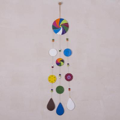 Ceramic wall art, 'Andean Dream Catcher' - Hand-Painted Ceramic Dream Catcher Wall Art from Peru