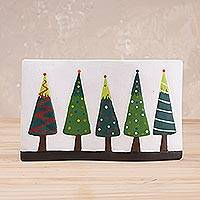 Ceramic decorative accent, 'Enchanted by Christmas' - Ceramic Christmas Tree Decorative Accent from Peru