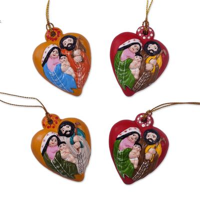 Four Heart-Shaped Ceramic Nativity Ornaments from Peru