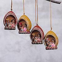 Ceramic ornaments, 'Andean Happiness' (set of 4) - Four Andean Ceramic Nativity Ornaments from Peru