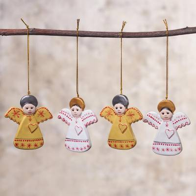 Ceramic ornaments, 'Angel Party' (set of 4) - Four Hand-Painted Ceramic Angel Ornaments from Peru