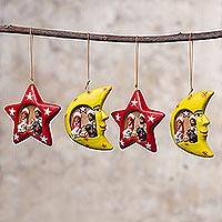 Ceramic ornaments, 'Cosmic Nativity' (set of 4) - Four Sun and Moon Ceramic Nativity Ornaments from Peru