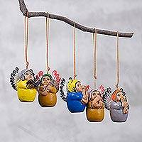 Ceramic ornaments, 'Angel Band' (set of 4) - Four Hand-Painted Ceramic Musical Angel Ornaments from Peru