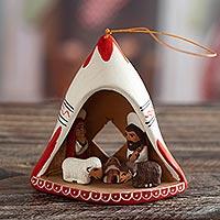 Ceramic ornament, 'Chullo Nativity' - Andean Hand-Painted Ceramic Nativity Ornament from Peru