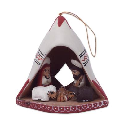 Andean Hand-Painted Ceramic Nativity Ornament from Peru