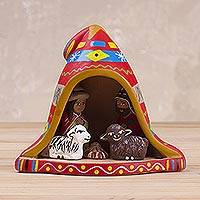 Ceramic nativity scene, 'Nativity Inside a Chullo Hat' - Hand-Painted Andean Ceramic Nativity Figurine from Peru