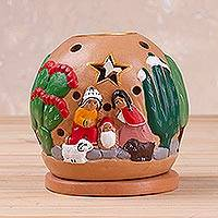 Ceramic tealight candle holder, 'Celebration of Life' - Handcrafted Nativity Tealight Holder from Peru