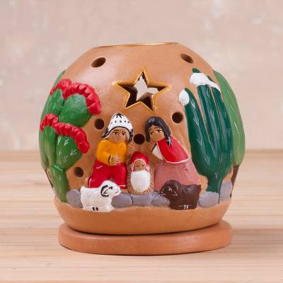 Handcrafted Nativity Tealight Holder From Peru Celebration Of Life Novica