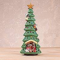 Ceramic incense burner, 'Nativity Aroma' - Christmas Tree Shaped Ceramic Incense Burner from Peru