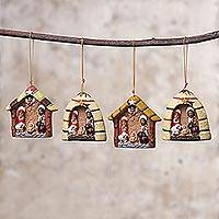 Ceramic ornaments, 'Andean Celebration' (set of 4) - Four Hand-Painted Ceramic Nativity Ornaments from Peru