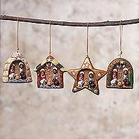 Ceramic ornaments, 'Happy Parties' (set of 4) - Set of Four Ceramic Nativity Ornaments from Peru