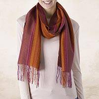 Alpaca blend scarf, 'Turning Leaf' - Handwoven Alpaca Blend Wrap Scarf with Stripes from Peru