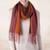 Alpaca blend scarf, 'Turning Leaf' - Handwoven Alpaca Blend Wrap Scarf with Stripes from Peru (image 2) thumbail