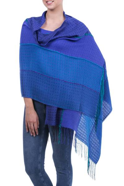 Alpaca blend shawl, 'Passionate Woman in Blue' - Handwoven Alpaca Blend Shawl with Blue Stripes from Peru
