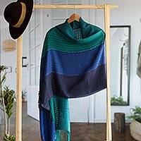 Alpaca blend shawl, 'Passionate Woman' - Alpaca Blend Shawl in Blue and Turquoise from Peru