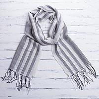 Men's alpaca blend wrap scarf, 'Manly Stripes' - Men's Handwoven Alpaca Blend Wrap Scarf in Grey from Peru