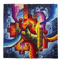 Alpaca blend tapestry, 'Inca Chakana' - Handwoven Abstract Alpaca Blend Tapestry from Peru