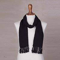 100% alpaca scarf, 'Dark Knight' - Handwoven Black Unisex Scarf in 100% Andean Alpaca