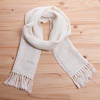 100% alpaca scarf, 'Classic Cream' - 100% Andean Alpaca Black Unisex Herringbone Scarf
