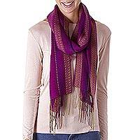 Alpaca blend scarf, 'Effortless Woman' - Alpaca Blend Wrap Scarf with Wave Motifs from Peru