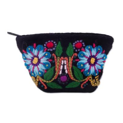 Floral Embroidered Alpaca Blend Coin Purse from Peru