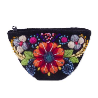 Black Floral Embroidered Alpaca Blend Coin Purse from Peru