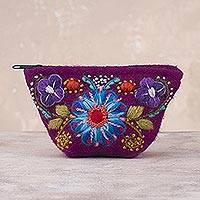 Alpaca blend coin purse, 'Berry Paradise' - Berry Floral Embroidered Alpaca Blend Coin Purse from Peru