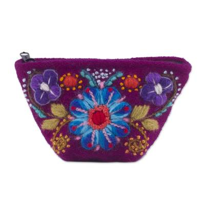 Berry Floral Embroidered Alpaca Blend Coin Purse from Peru