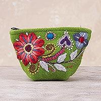 Alpaca blend coin purse, 'Spring Green Shopper' - Green Floral Embroidered Alpaca Blend Coin Purse from Peru