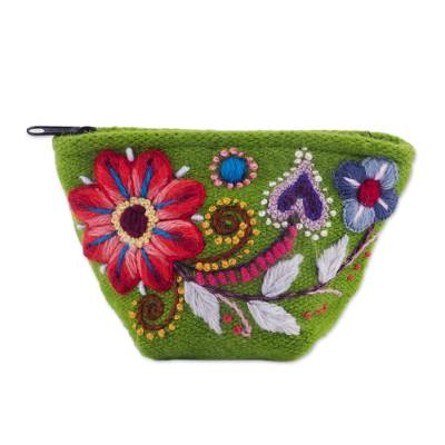 Green Floral Embroidered Alpaca Blend Coin Purse from Peru