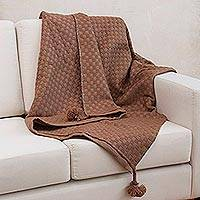 Alpaca blend throw blanket, 'Sepia Checks' - Soft Brown Alpaca Blend Throw Blanket with Tassels