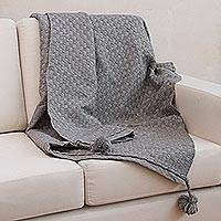 Alpaca blend throw blanket, 'Neutral Grey Checks' - Neutral Grey Soft Alpaca Blend Throw Blanket with Tassels